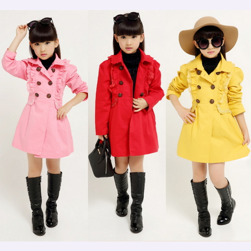 2015 NEW girls trench coat children coat autumn winter outwear ...