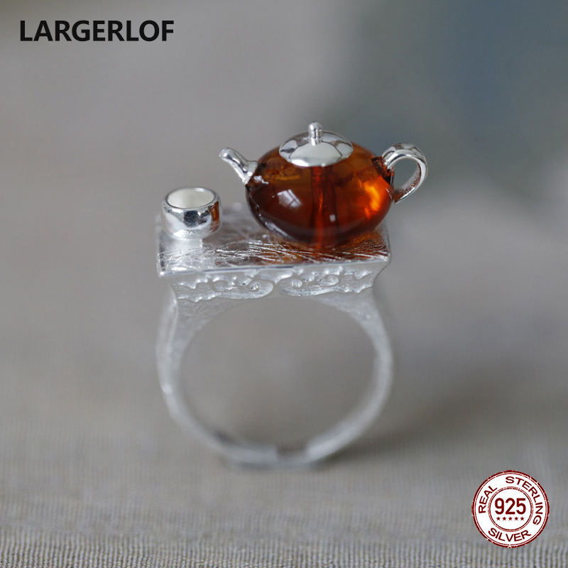 LARGERLOF Ring Silver 925 Women Amber Silver Ring Handmade Silver 925 Jewelry 925 Sterling Silver Rings For Women JZ50012 lekani svr005 925 sterling silver ring silver