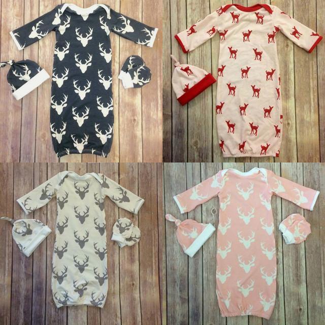 Ins 3 unids Diseñador Recién Nacidos Muchachas de Los Bebés Gorros Sombrero Del Bebé Del Algodón Pijamas Albornoz Infantil Durmiente Del Bebé Saco de Dormir Manta