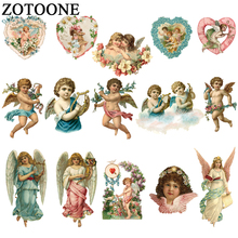 ZOTOONE Angel Love Flower Patch Iron On Transfers For Clothing Letters Wings Patches Children DIY Heat Press E