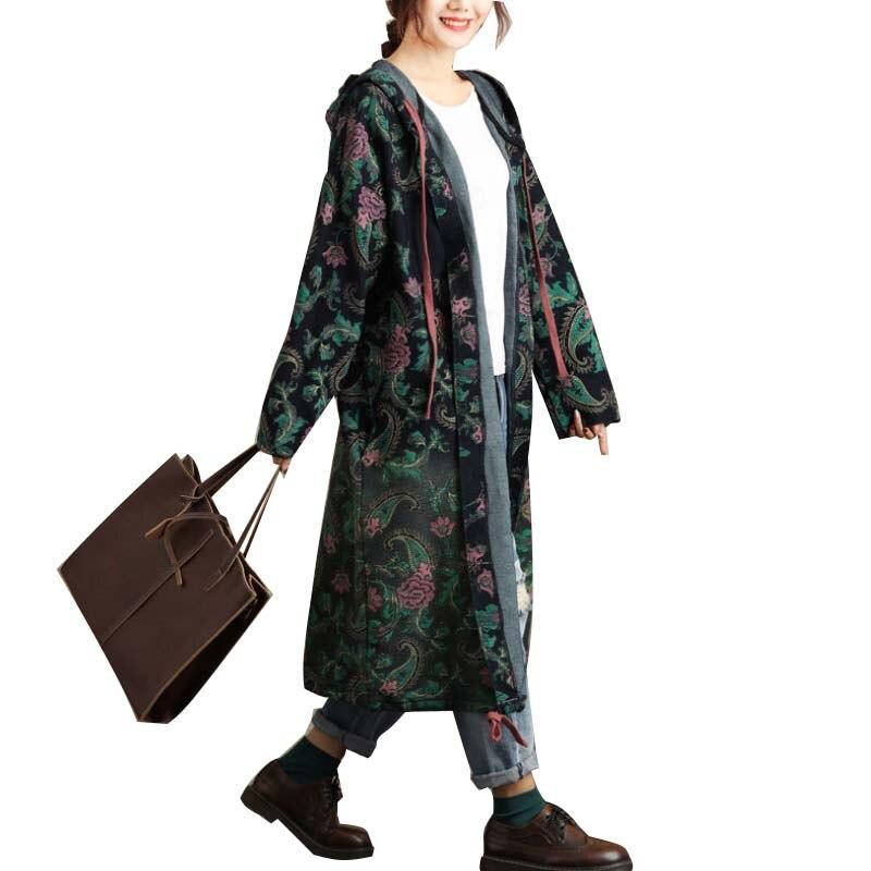 La Plus Taille Manteau De Capuchon Femmes Cru Lâche Tranchée Hiver Cajou Blue Automne Green À Impression RwSxdBqK1x