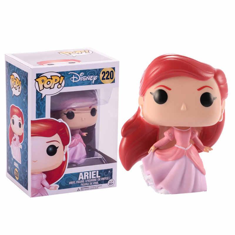 Funko POP Boneka Putri Mermaid Ariel, Belle, Cinderella, Rapunzel, tiana PVC Action Figure Collectible Model Mainan untuk Anak-anak Hadiah