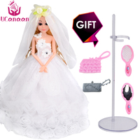 New UCanaan Doll Luxury White Wedding Princess Dolls With Accessories Fashion Girl Toys Play House Sticker