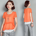 New Women Casual Basic Summer Chiffon Blouse Top Shirt patchwork buttons blusas layers Open fork OL Loose Plus Size