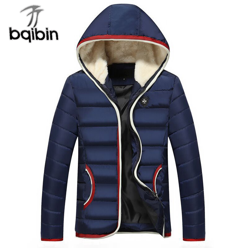 2018 Jackets Men Casual Windproof Winter Pure Color Hoodie Pocket Thickened Cotton Outwear   Parka   Coat Male