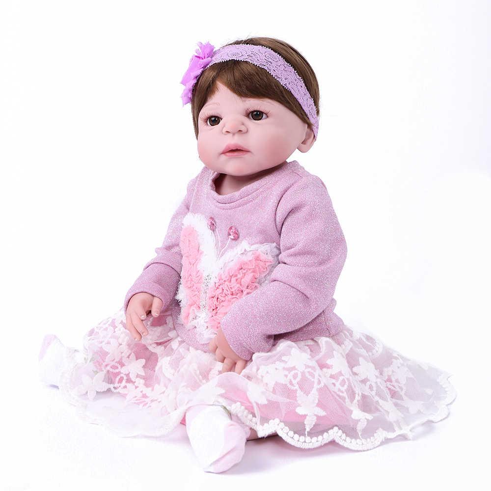 55 cm 22 inches Lifelike Realista Boneca de Silicone Boneca de Silicone brinquedos bonecas bonecas meninas lol bebê reborn menino KAYDORA