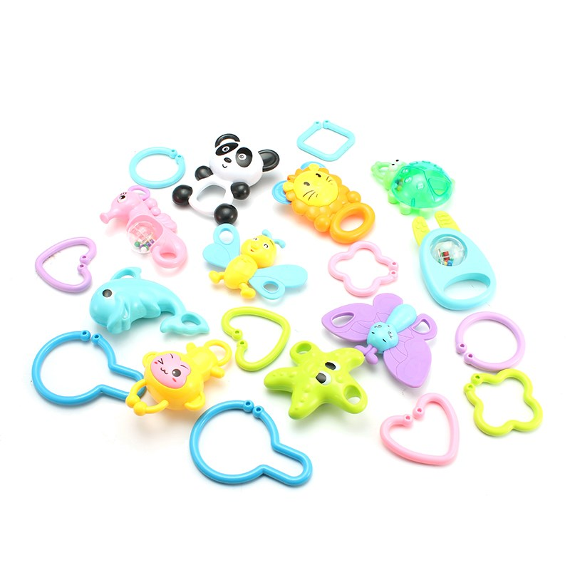20pcs/set DIY String Rattles Bell Plastic Hand Jingle Shaking Bell For Infant Newborn Baby 0-12 Mnoths Rattles Toys With Box ...