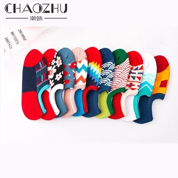 CHAOZHU chaussettes dete femmes hommes 1 pair calcetines felices summer fashion 10 colors low cute non-slip heel no show socks image