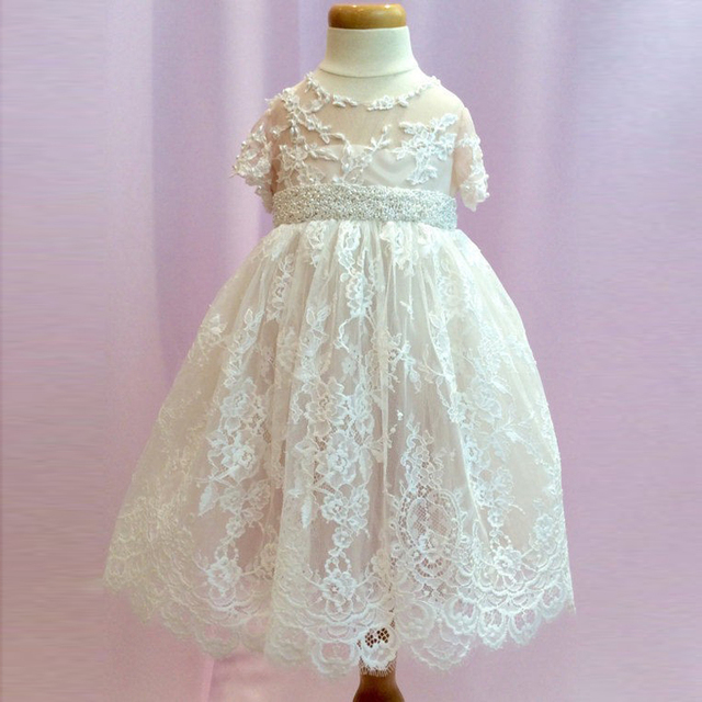 Modern Lace Jewel Christening Gown Long Tulle Applique Baby Girls ...
