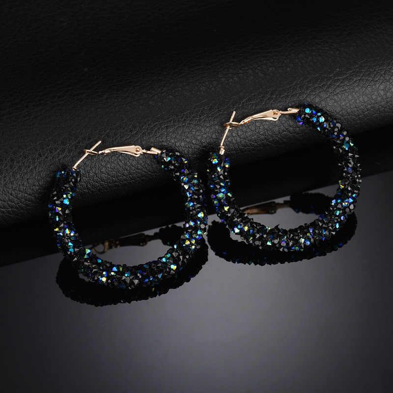 Desain Baru Fashion Pesona Austria Crystal Anting Anting-Anting Geometris Bulat Besar Rhinestone Berkilau Anting-Anting Perhiasan Wanita Drop Pengiriman