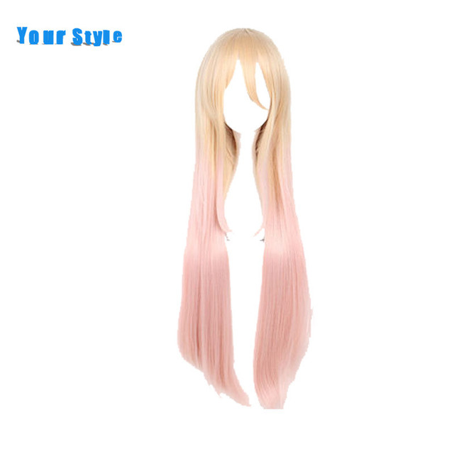Your Style Long Straight Female Cosplay Hair Wigs for Party Costume Ombre Yellow Orange Pink  Synthetic High Temperature Fiber