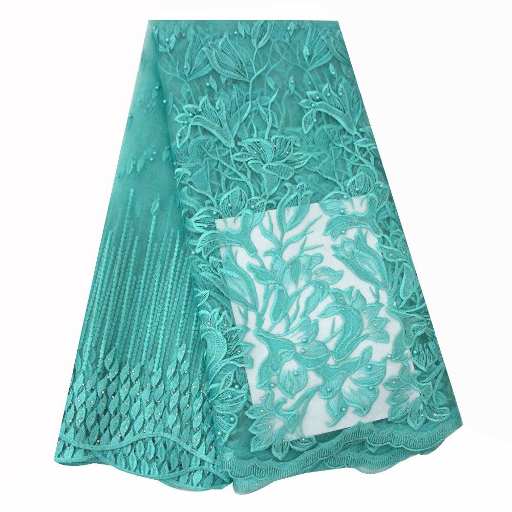 Ourwin afrique dentelle haute qualité dentelle tissu Aqua perlé Nigeria dentelle tissu 2018 français lacets tissus haute qualité Tulle français