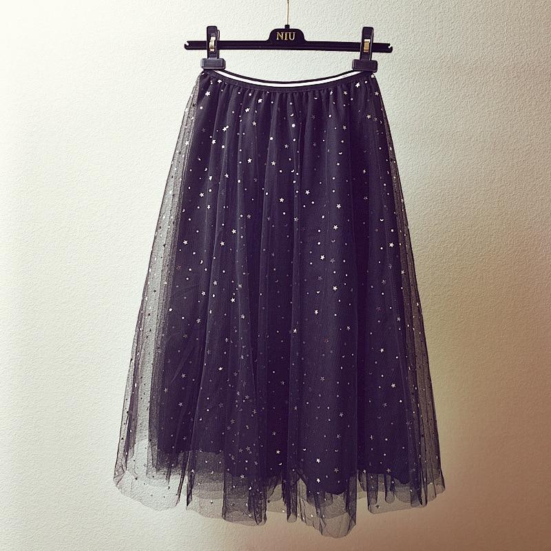 2017 new Korean version of autumn winter chic stars sequins mesh yarn half skirt female high waist black long A word skirtS