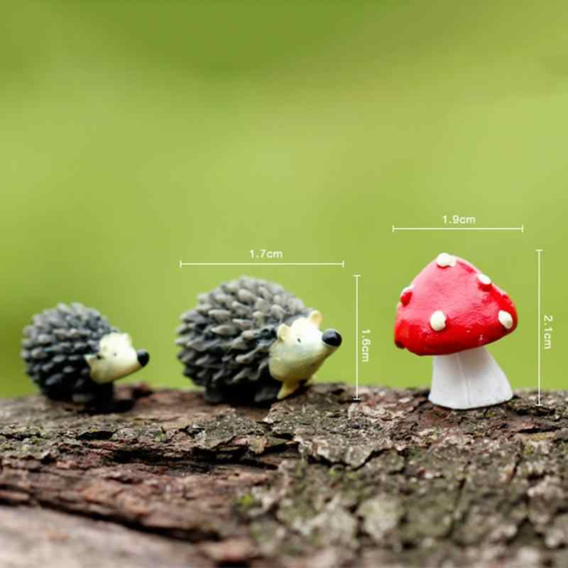 3Pcs Artificial mini hedgehog with red dot mushroom miniatures fairy garden gnomes moss terrarium resin crafts decorations