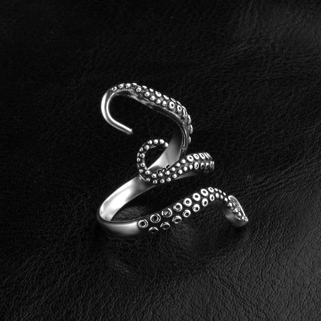 Men Vintage Octopus Titanium Ring