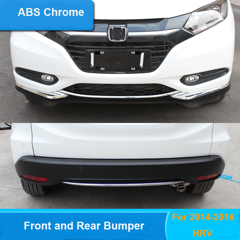 ABS Chrome Front and Rear bumper grill cover trim 2pcs/set for Honda HRV HR-V Refitting Accessories car styling 2014 2015 2016 2014 2017 for honda hrv car accessories abs chrome side door body trim for honda hrv vezel chrome molding body strips ycsunz