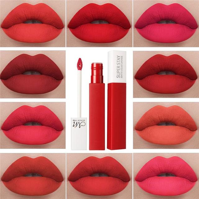 12 colores líquido brillo de labios belleza de larga duración mate impermeable lápiz labial rojo de labios tinte Sexy brillo de labios Nude maquillaje