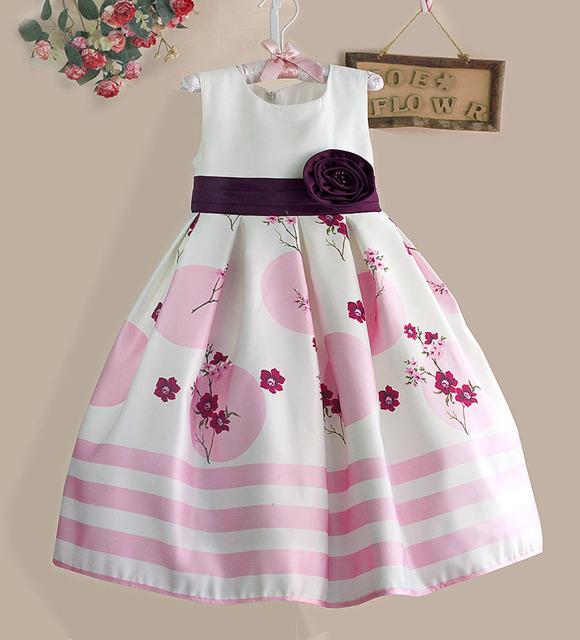 De calidad superior Blanco Niñas de Las Flores Vestido de Fiesta de Rayas de Color Rosa Los Niños Grandes Del Arco Vestidos de Princesa de La Muchacha Ropa Tamaño 3-8Y