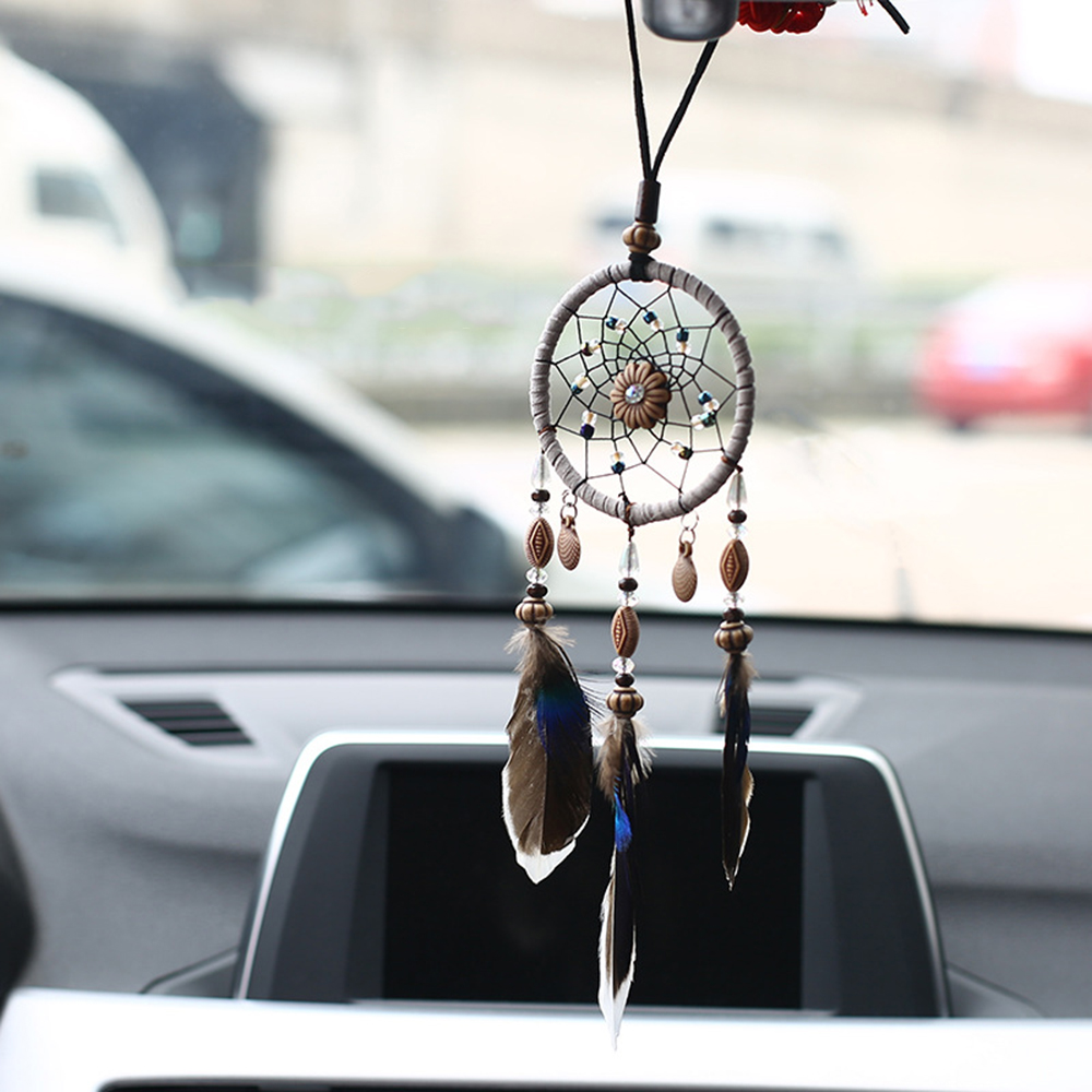 Car Pendant Handicraft Dreamcatcher Feather Hanging Car Rearview Mirror Ornament Auto Decoration Trim Accessories For Gifts 30CM car pendant cute helmet rearview mirror hanging for game of thrones cartoon automobile interior decoration ornament accessories