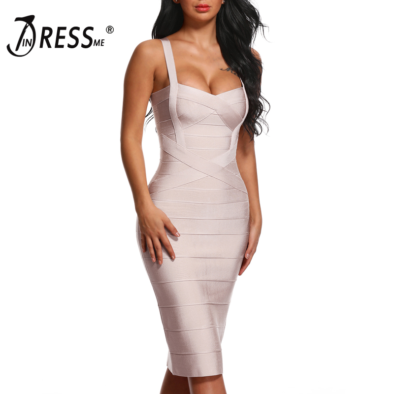 656f4601a3 INDRESSME 2019 Women's Midi Bandage Dress Sexy Spaghetti Strap Bodycon Club  Party Dresses Vestidos ...