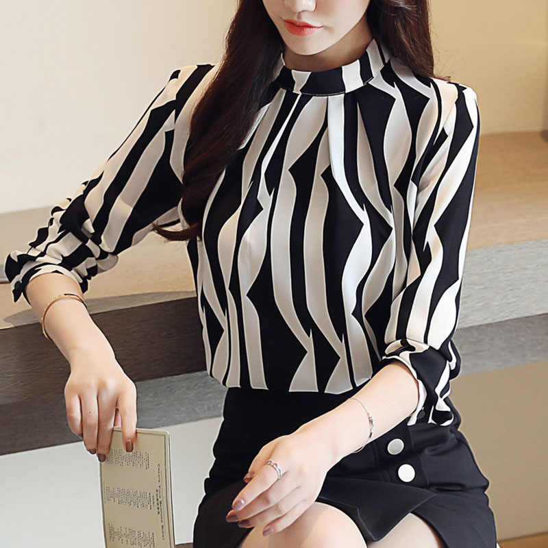6ee19a8f95d hanyiren Women Long Sleeve Casual Stripe Shirt Office Lady Stand Collar  Elegant OL Chiffon Top 2019