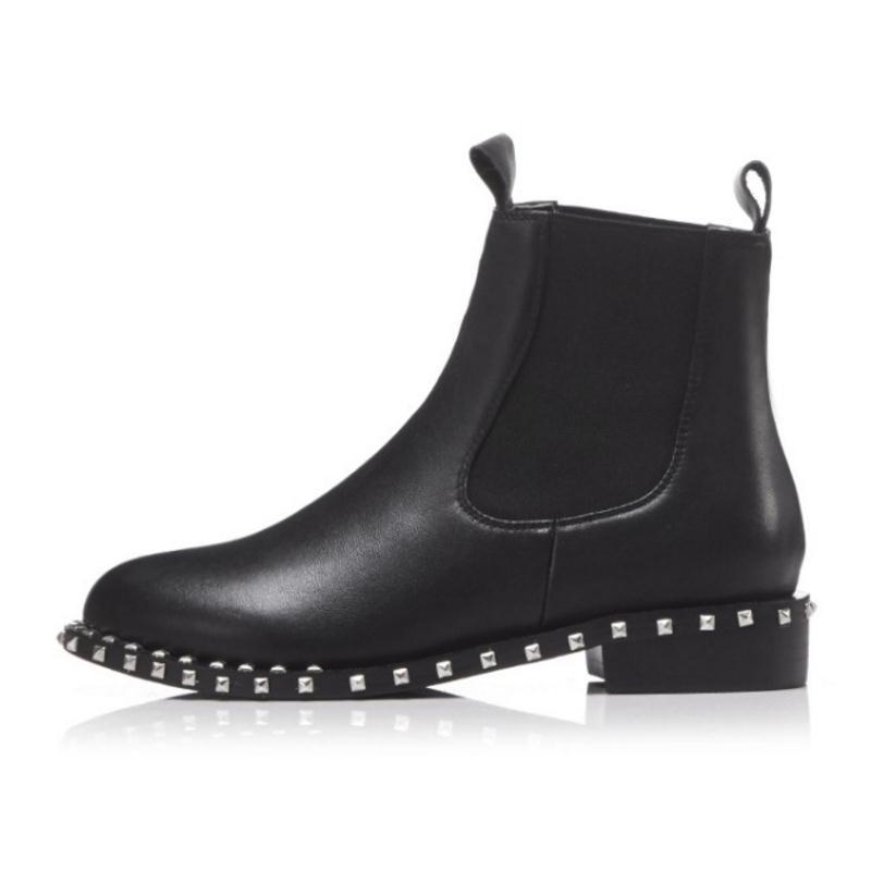 Moda Cloth Chelsea 1 43 Remaches Razamaza Black Mujer Mujeres Fur black Fur Cremallera Las Invierno Real 2 Tamaño 34 black Planos Zapatos Vinatage De La Cuero Botas Aqqxp1w6