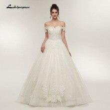 jubah de mariage Boat Wedding Dresses 2018 Lace Appliques Ball Gown Vestido de noiva Off The Shoulder