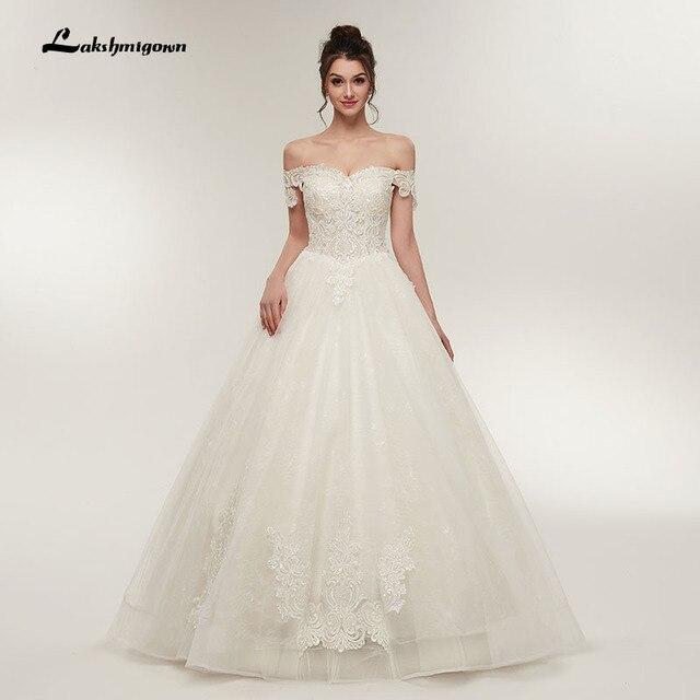 Robe De Mariage Boat Neck Wedding Dresses 2018 Lace Liques Ball Gown Vestido Noiva Off