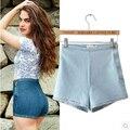 2016 Nova Moda Casual Skinny Zíper Lateral Fina Alta Elástico Waisted Shorts Jeans Denim Quadril Fino Curto Para As Mulheres Do Sexo Feminino Feminino