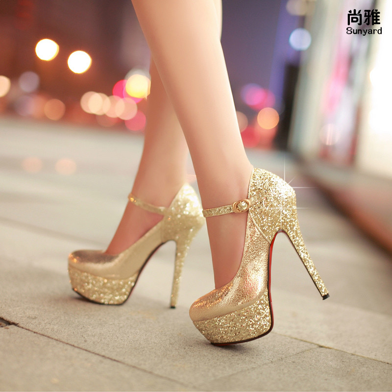 14cm ultra high heels single shoes female thin heels platform strap  champagne gold wedding shoes formal dress shoes bridal shoes 61c39587b0f8