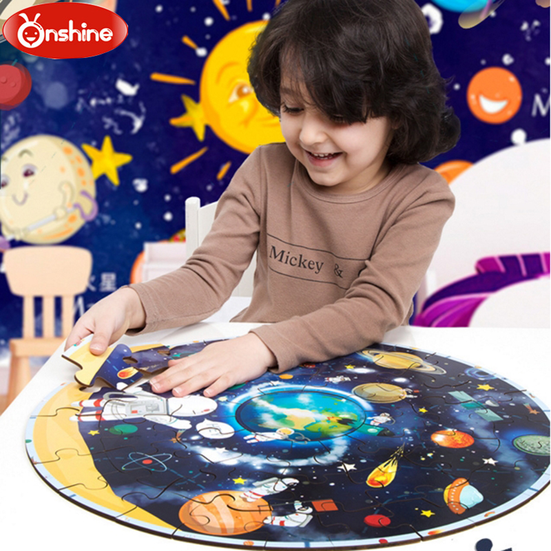 ONSHINE High Quality Big Scale Wooden Planet Puzzle(48 Pieces) 3D Cartoon Puzzle Toys Spaceman With Heavenly Bady Pattern