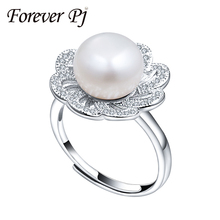 Basic Pure Pearl Rings Wedding ceremony Freshwater four Colour  Rings For Girls Adjustable Ring 925 Silver Jewellery For Girls 10-11mm