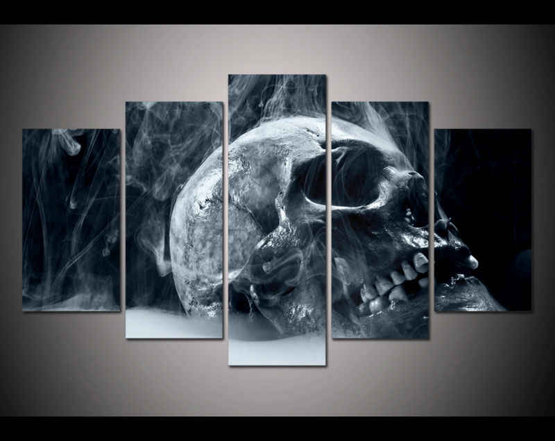 Hot Sales Framed 5 Panels Picture Skull poster series HD Canvas Print Painting Artwork Wall Art Canvas painting /11Y-ZT-17