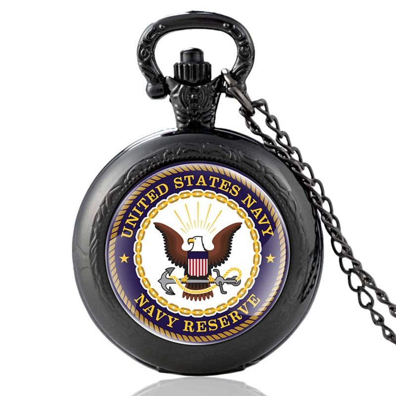 Classic Fashion United States Navy Reserve Quartz Pocket Watch Vintage Men Women Pendant Necklace Watches