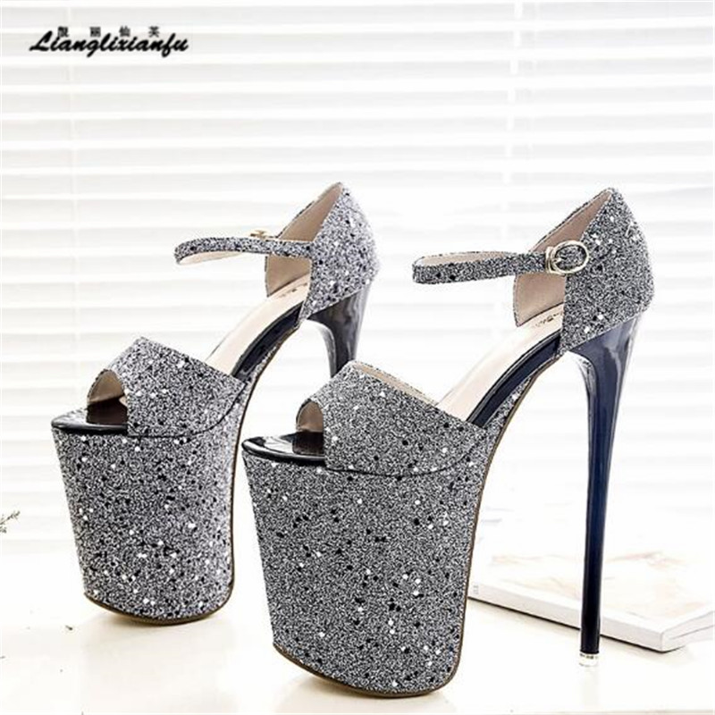LLXF zapatos Sandals Plus:34-41 42 43 Stiletto Ladies Bling paillette Shoes woman 20cm High-Heeled female Buckle Pumps sapato
