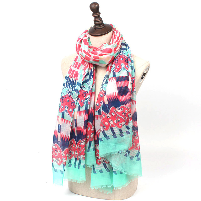 Colorful Geometry Shawl Scarf | Lightweight Scarves