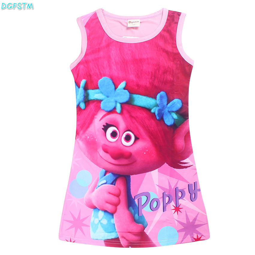 Girls TROLLS Dress Print Imitation Girl Tank Party moana Dress White Red Blue Color Children Clothing Children Poppy Dresses