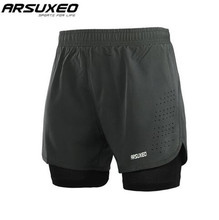 ARSUXEO Sports Cycling Shorts Running Men 2 In 1 Compression Marathon Quick Dry Gym Tights Jogging Shorts With Zipper Pocket arsuxeo 2 in 1 marathon running shorts men breathable quick dry training fitness athletic gym sports shorts with zipper pocket