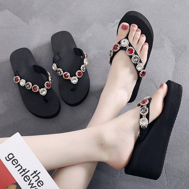 SHUJIN Mulheres Sapatos De Salto Alto Plataforma Diamante Chinelos Para As Mulheres de Cristal Slide Fundo Grosso Sandálias de Verão Feminina Sexy