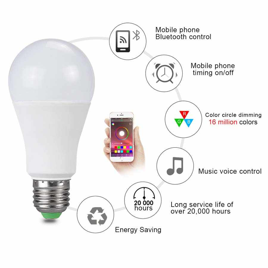 15W 20W Ampoule LED Smart Night Lights 85-265V B22 E27 Wireless Bluetooth Bulb Controlled By Music Voice With Multi-function