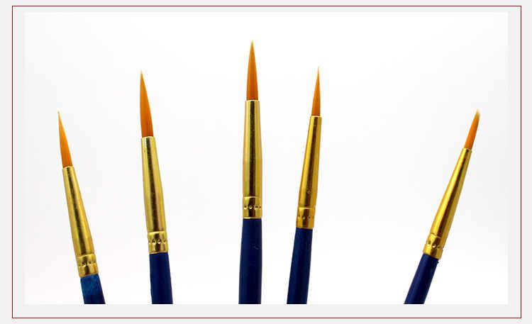 10 עץ שטוח תכליתי יח'\סט שורת וו מחודד קצר עט סט ניילון פרופילן עט צבעי מים מברשת צבע עט ציור קו