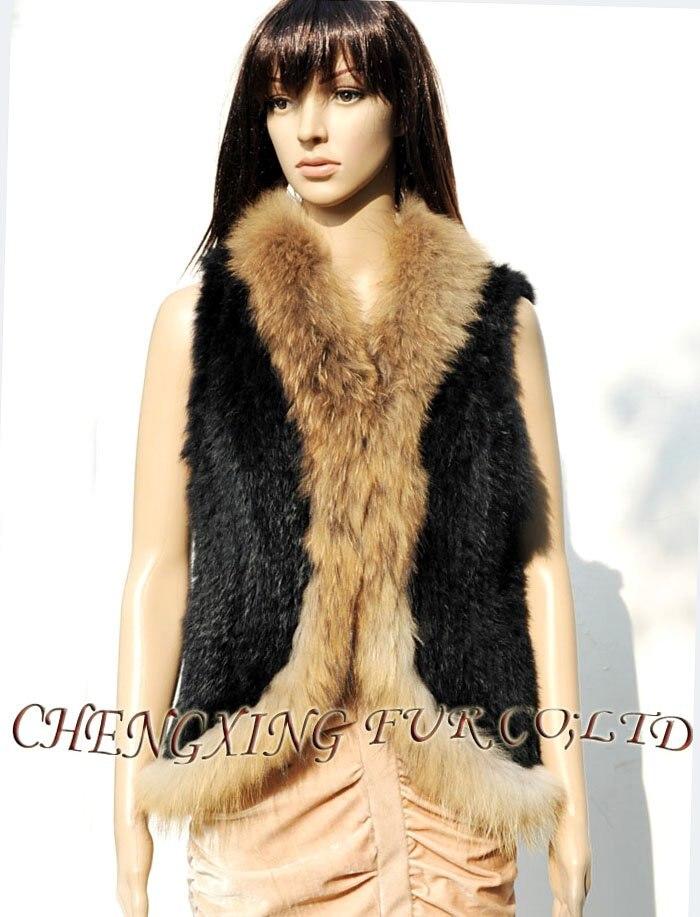 Baisse Fourrure Mode Blanc Black Expédition Tricot Cx ~ Lapin Gilet noir white 34 g Femmes Brown b De natural TlFJK31c