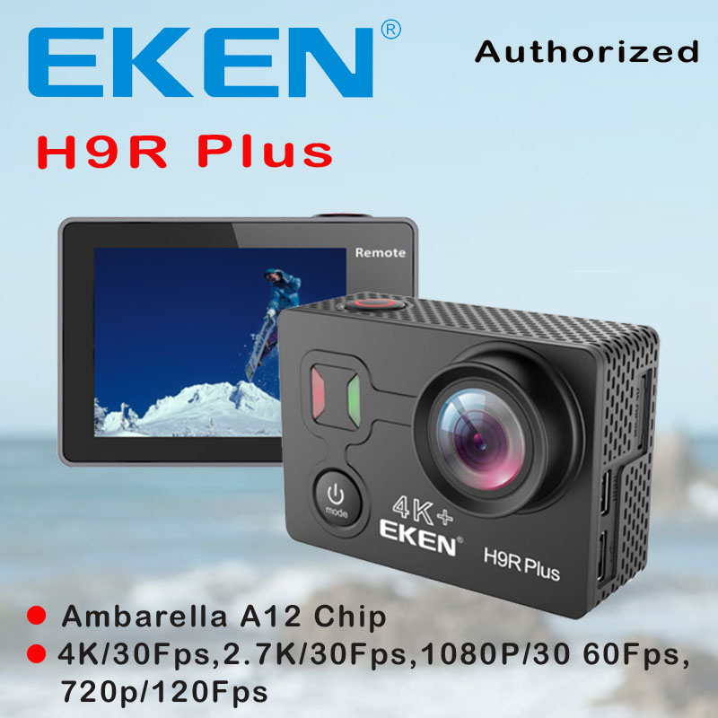 EKEN H9R Plus Action Camera HD 4K 30FPS Ambarella A12 Chip 30M Waterproof Action Cam 14MP 2.0' Screen Go Outdoor Sport Camera f88 action camera black