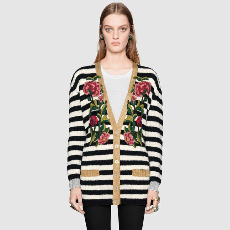 Star The Same Type Heavy Industry Embroidery Gold Thread Three-dimensional Black White Striped Sweater Women Loose Medium Long