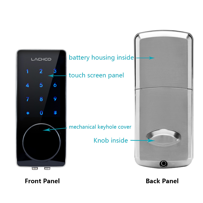 Image 3 - LACHCO Electronic Door Lock Password, 2 Cards, 2 Mechanical Keys Touch Screen Keypad Digital Code Lock Smart Entry L16076BS-in Electric Lock from Security & Protection