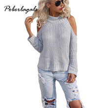 pull femme 2016 Women Long Sleeve Knitted Sweaters For Women Strapless wild high collar knit sweater female sweater Womens