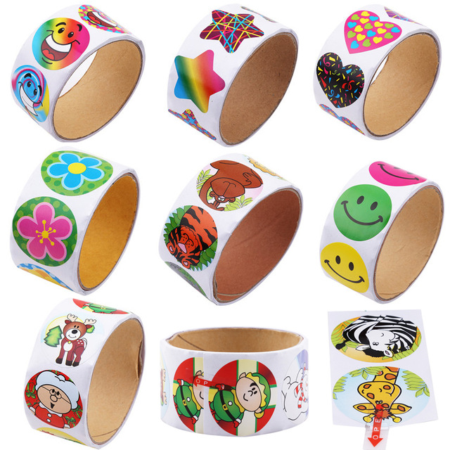 1 Roll(100 Stickers) Cute Cartoon Paper Stickers Rolls Kids Wild Animals Smiley Face Love Star Christmas Birthday