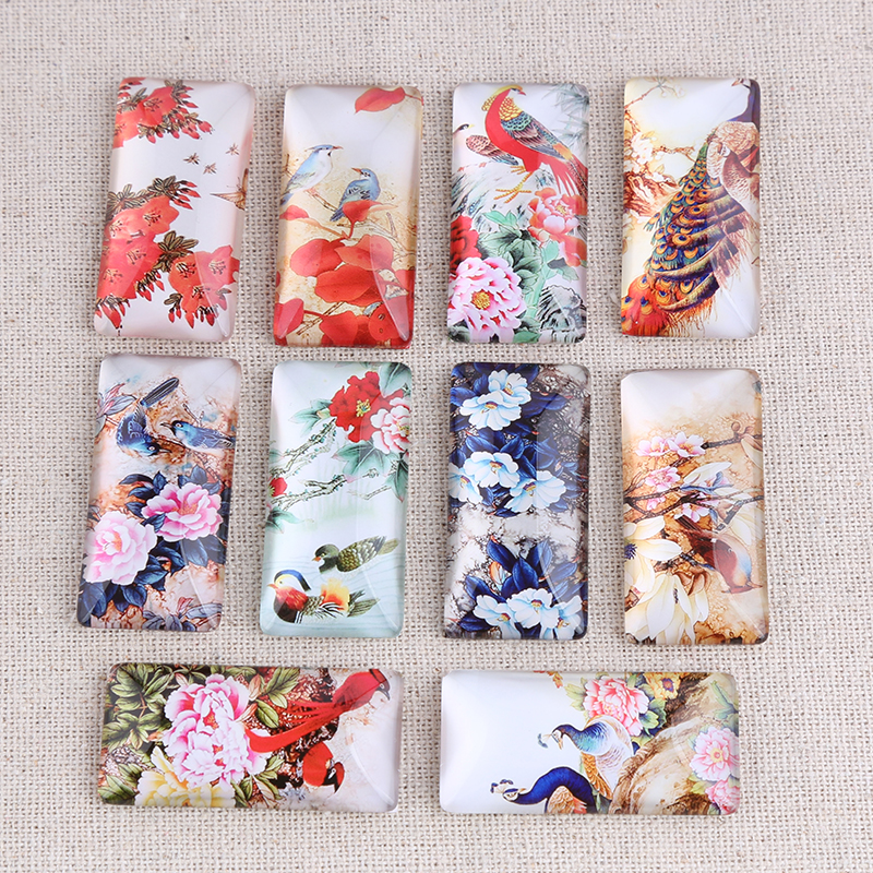Onwear 10pcs Mix Vintage Bird Peacock Flower Photo Rectangle Glass Cabochon 10x25mm Diy Jewelry Findings For Scrapbooking