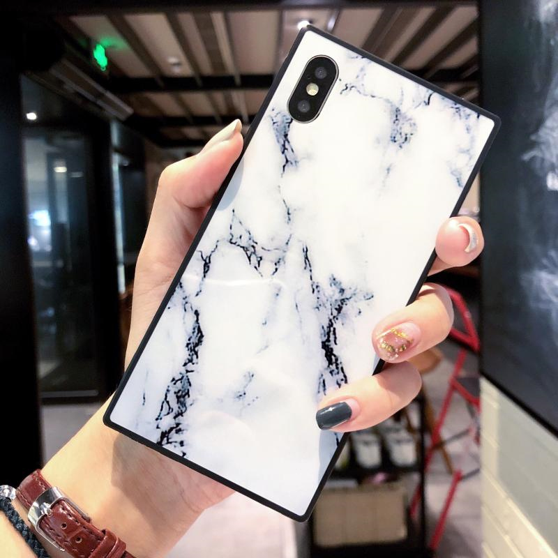 new style be67e a10df Granite Stone Marble Texture Square Design Soft TPU Phone Case For Iphone 6  6S 7 8 Plus X