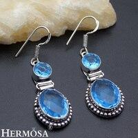 Shiny Blue Biżuteria Styl Vintage 925 Sterling Silver Kobiet Hermosa Kolczyki 52mm Wyjątkowo Gorąca Sprzedaż NY209 Darmowa Wysyłka